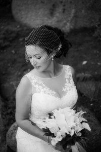 bride in beautiful vintage dress como park